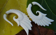 White Bone Feather Fake Gauge Earrings, Water Buffalo Bone Tribal style Wings