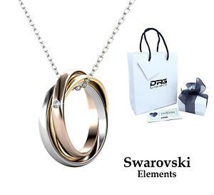 Collana Donna Swarovski Elements Trilogy Girocollo Acciaio 3 Anelli Oro Rosa
