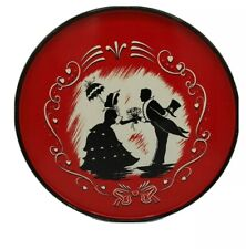 New ListingVintage Set of 4 Metal Rnd Platters Trays Courting Couple Black White Red 10¾""