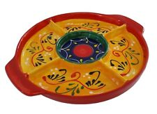 5 Compartment Tapas Serving Dish 21 X 21 cm Traditional Spanish Handmade Ceramic