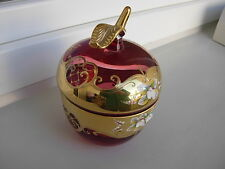 STUNNING  BOHEMIAN CZECH CRANBERRY   APPLE  SUGAR BOWL WITH LID