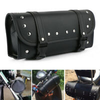 "Motorcycle 12"" Front Fork Tool Bag Pouch Luggage SaddleBag PU Leather For Harley"