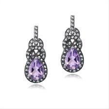 925 Silver Amethyst & Blue Topaz Twist Teardrop Dangle Earrings