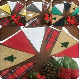 "Tartan  Christmas Bunting Handmade Hessian Felt Trees Per M + Free ""NOEL"" mini"