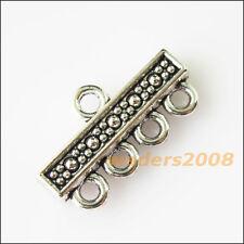 6 New 1-4 Holes Long Connectors Tibetan Silver Tone Charms Pendants 12x22mm