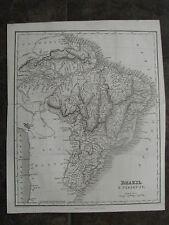 1841 Original Map of Brazil & Paraguay