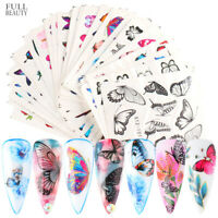 30pcs Butterfly Nail Stickers Blue Black Water Transfer Decals Nail Art Decor-