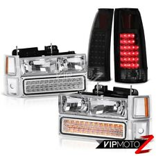 94-98 Chevy Silverado Sinister Black Taillamps Chrome Headlights Signal Parking