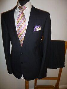 Men's French Connection Suit 44 L Blue Check Slim Fit Jacket Trousers 36 x 31