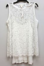 CHICOS Size 2 White Lace Sleeveless Tank Top