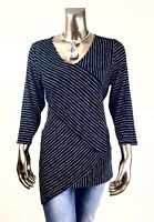 CHICO'S *NWT SIZE P-1,2,3  (PETITE-M,L,XL ) BLACK-WHITE CROSS-STRIPE TOP  $85