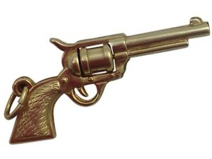 4 Gun Charms Antique Copper Tone Pistol Pendants Western Findings 2 Sided