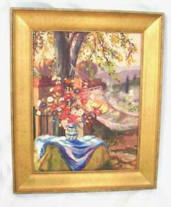 """Sophie Coors Original Painting Floral Trees Memphis TN Signed 1990 25"""" x 18.5"""""""
