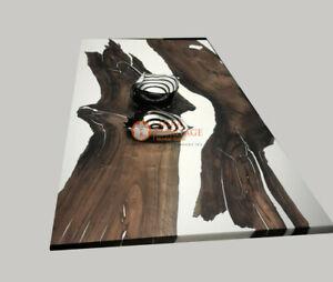 White dining,Mappa Burl epoxy resin,poplar Acacia wood dining table ,epoxy table