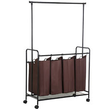 Rolling Laundry Cart Sorter Hamper 4 Bag Washing Clothes Bin Storage Basket Rack