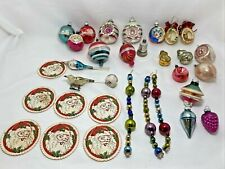 Lot Antique Blown Glass Christmas Tree Ornaments Indents Saucers Figural Mica