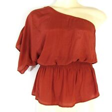 Agaci Womens Top One Shoulder Peplum Light Weight Blouse Red  Large