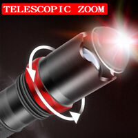 Super Bright 90000LM T6 LED Flashlight Rechargeable Zoom Camp Light Torch +18650