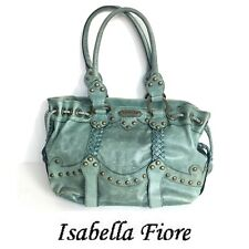 ISABELLA FIORE Aqua Green Leather Studded Extra Large Travel Bag / Tote.