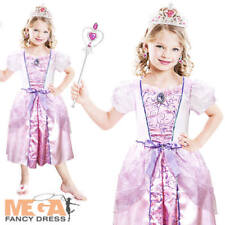Pink Princess + Tiara Girls Fancy Dress Fairytale Book Day Week Childs Costume