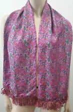 DUCHAMP LONDON Menswear Pink & Multi Colour Silk Paisley Print Rectangle Scarf