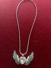 Sterling Silver Necklace w/ Pink Heart & Angel Wings Charm *Great Gift for Her!