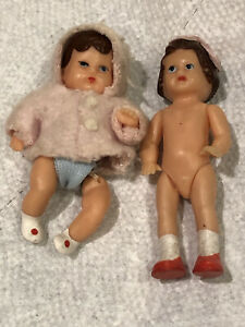 2 Vintage Rubber Miniature Dollhouse dolls ARI jointed Baby & girl Made Germany