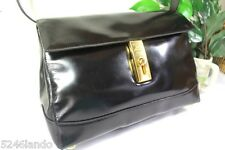 Vintage CELINE Paris Black Glossy Patent Leather Shoulder Bag Italy