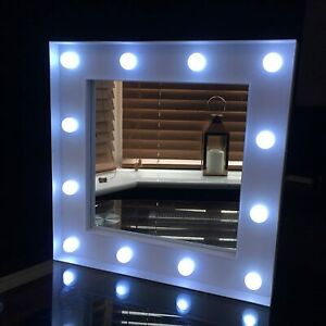 30x30cm Small White Square Led Light Hollywood Style Wall Mirror Girls Bathroom