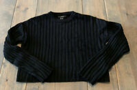 Forever 21 Women's Juniors Long Sleeve Crop Solid Black Sweater Pullover Size: M