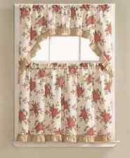 Christmas Poinsettia Holly 3 Pc. Kitchen Curtain Tier & Swag Set by GoodGram