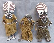 African  lot of 3 Ceremonial Figurines of Dolls from Zimbabwe Makishi Tribe