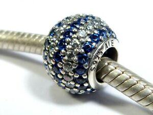 PANDORA S925 ALE SILVER BLUE CLEAR CZ PAVE NUATICAL LIGHTS BALL CHARM 791172NCB