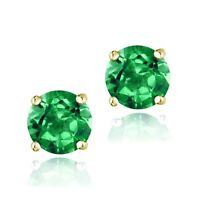 18K Gold over 925 Silver 2.1ct Created Emerald Stud Earrings, 6mm