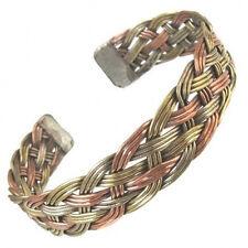 Beautiful Wide Tibetan 3-Color Copper Delicately Braided Amulet Cuff Bracelet