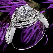 1.60 CT ROUND CUT DIAMOND HALO ENGAGEMENT RING 14K WHITE GOLD