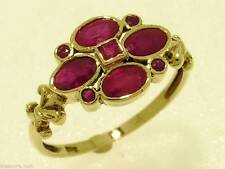 R139- Genuine 9ct Solid Gold NATURAL RUBY Blossom Ring Flower Cluster size N