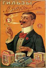 Ad62 Vintage Rusa Soviética Cigarrillos Anuncio Cartel volver a imprimir A4