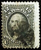 #90 12c Black 1868 ::E-Grill:: Used Rare CV $400+