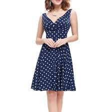 New 1950s vintage style swing navy blue polka dot rockabilly party dress UK6-18