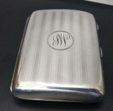 Silver Cigarette Case Engine Turned With Monogram by W J Myatt & Co 1923