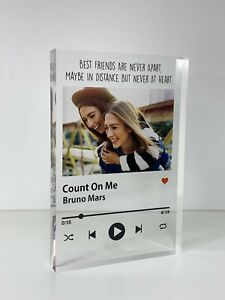 Personalised Friends Song Track Photo Acrylic Block Birthday, Friendship Gift