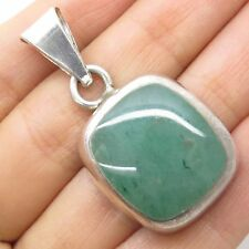 Vtg Mexico 925 Sterling Silver Real Large Aventurine Gem Pendant