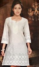 50 Designer 100% Handwoven Eyelet White Cotton Indian Tunic Dress BOHO Yoga Top