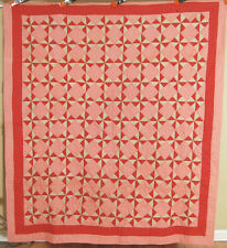 Vibrant Vintage 1890's Red Pinwheels Antique Patchwork Quilt ~Nice Small Scale!
