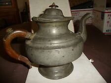 #1222 vtg antique PEWTER Tea Pot AS IS  wood handle  Repeat AS IS  Decoration