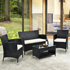 Us 8 Pcs Patio Furniture Outdoor Garden Conversation Wicker Sofa Set W/ Cushions
