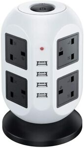 Tower Socket Extension Lead 3M 8Way Cable Surge Protected  Power with 4 USB Port