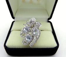 Cocktail 14k White Gold Cluster LC Diamond & Aquamarine Ring 9.6 grams size 7.5