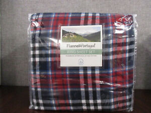 New Opened-Flannel Portugal King Sheet 4-Set-Navy/Red Plaid 100% Cotton